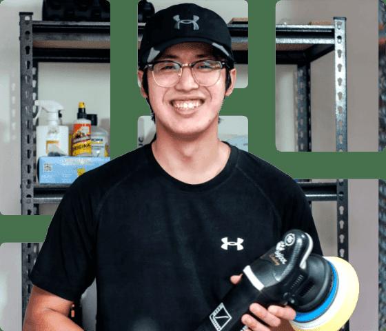 smiling customer using setmore mobile app