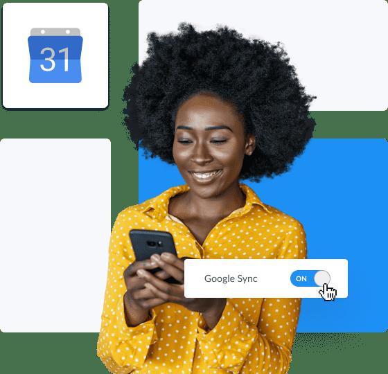 Rapariga de cabelo encaracolado a sincronizar a setmore com o google calendar