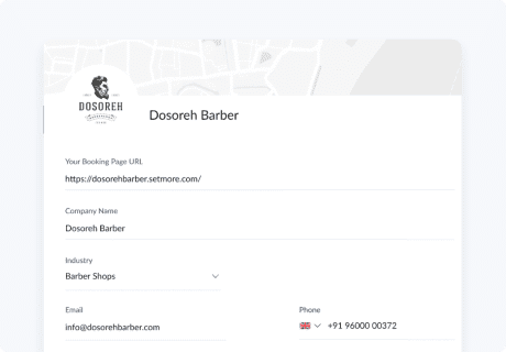 customise booking page setmore