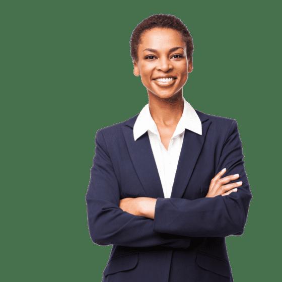 Uma mulher profissional em pé de casaco