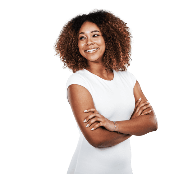 a lady with curly hair smiling