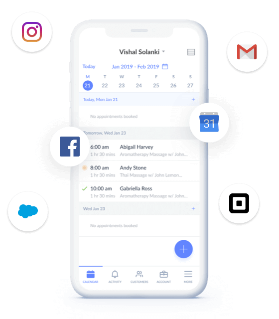 social media icons with setmore app in a mobile