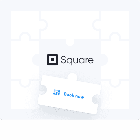Puzzle piece with book now text with Square space