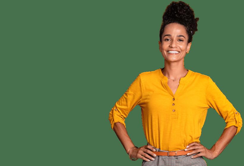 Smiling Setmore customer in yellow shirt